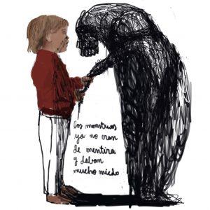 Ilustración de Elena Sevilla de niña con monstruo real