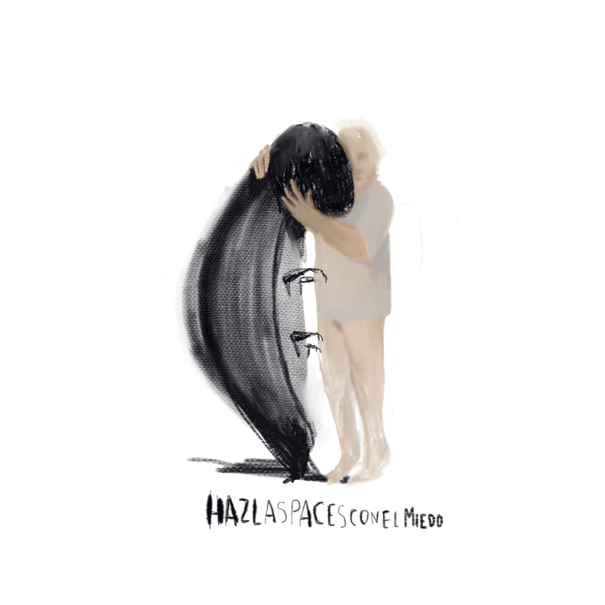 Ilustración de Elena Sevilla de niño abrazando a un monstruo